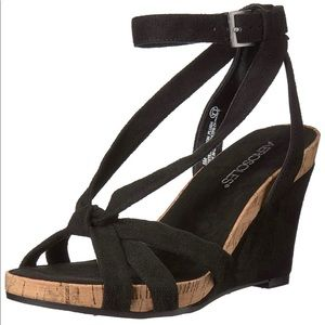 Aerosoles Fashion Plush Black Suede Wedge Sandals